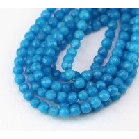 Sky Blue Candy Jade Beads, 4mm Faceted Round