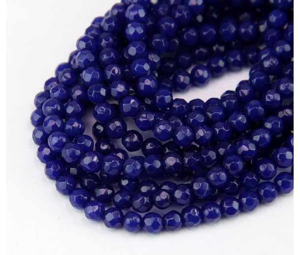 Dark Blue Candy Jade Beads, 4mm Faceted Round
