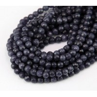 Midnight Blue Candy Jade Beads, 4mm Faceted Round