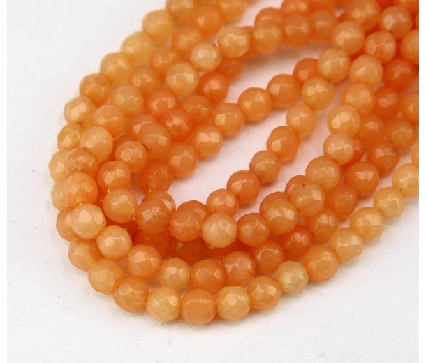 Peach Orange Candy Jade Beads, 4mm Faceted Round