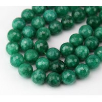 Heathered Green Candy Jade Beads, 10mm Faceted Round