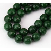 Dark Green Candy Jade Beads, 10mm Faceted Round