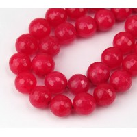 Watermelon Pink Candy Jade Beads, 10mm Faceted Round