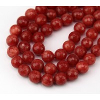 Indian Red Candy Jade Beads, 8mm Faceted Round