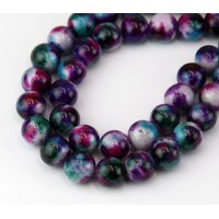 Fancy Purple Multicolor Jade Beads, 10mm Round