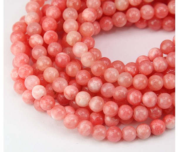 Coral and White Multicolor Jade Beads, 6mm Round