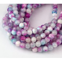 White, Blue and Magenta Multicolor Jade Beads, 6mm Round