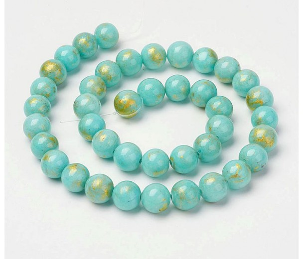 Light Blue with Gold Paint Mountain Jade Beads, 8mm Round