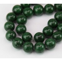 Dark Forest Green Mountain Jade Beads, 12mm Round