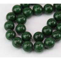 Dark Forest Green Mountain Jade Beads, 12mm Round