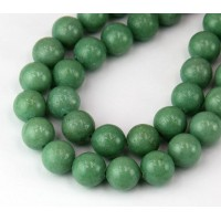 Moss Green Mountain Jade Beads, 10mm Round