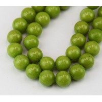 Olive Green Mountain Jade Beads, 8mm Round