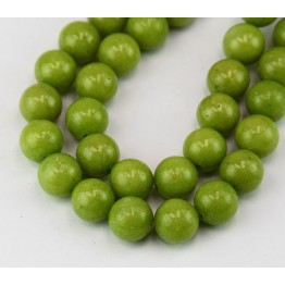 Olive Green Mountain Jade Beads, 10mm Round
