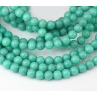 Pastel Teal Mountain Jade Beads, 6mm Round