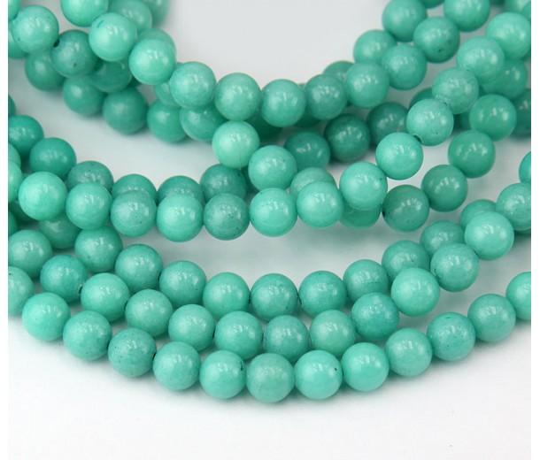 Pastel Teal Mountain Jade Beads, 6mm Round