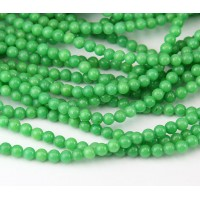 Leaf Green Mountain Jade Beads, 4mm Round