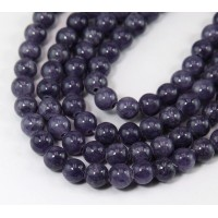 Purple Grey Mountain Jade Beads, 8mm Round