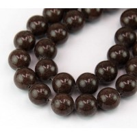 -Coffee Brown Mountain Jade Beads, 12mm Round