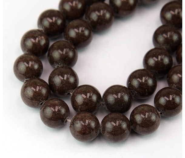 Coffee Brown Mountain Jade Beads, 12mm Round