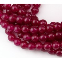 Dark Magenta Semi-Transparent Jade Beads, 8mm Round