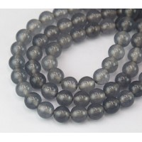 Grey Mist Semi-Transparent Jade Beads, 8mm Round