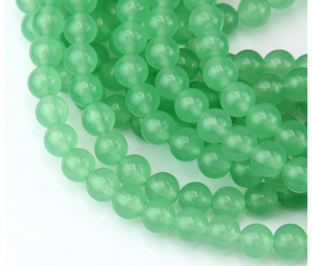 Spring Green Semi-Transparent Jade Beads, 6mm Round