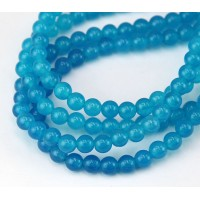 Light Denim Blue Semi-Transparent Jade Beads, 6mm Round