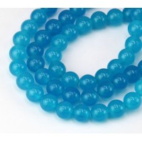 Light Denim Blue Semi-Transparent Jade Beads, 8mm Round