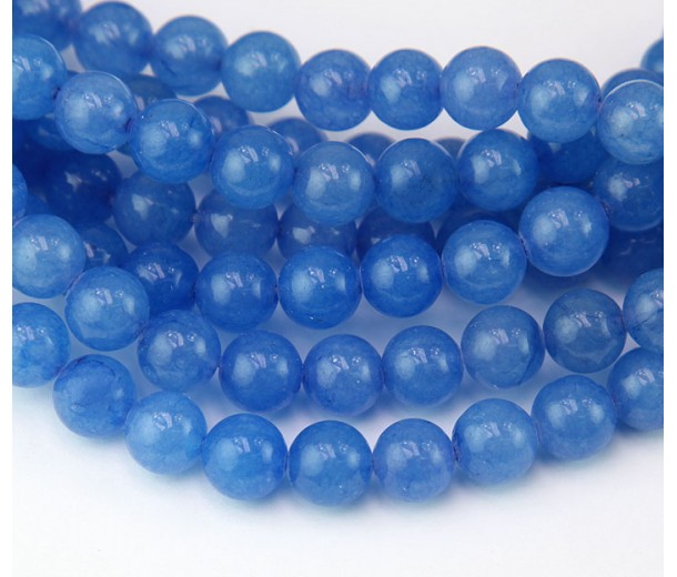 Cornflower Blue Semi-Transparent Jade Beads, 8mm Round