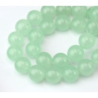 Pale Green Semi-Transparent Jade Beads, 10mm Round