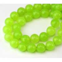 Neon Green Semi-Transparent Jade Beads, 10mm Round