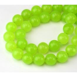 Neon Green Semi-Transparent Jade Beads, 10mm Round