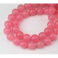Sorbet Pink Semi-Transparent Jade Beads, 10mm Round