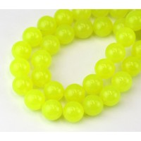 Neon Yellow Semi-Transparent Jade Beads, 10mm Round