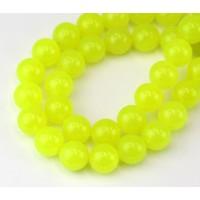Neon Yellow Semi-Transparent Jade Beads, 10mm Round