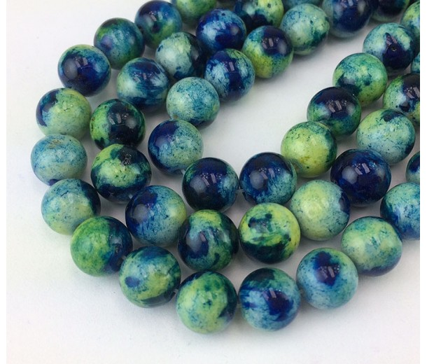 Blue and Green Multicolor Jade Beads, 8mm Round