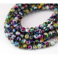 -Teal and Blue Multicolor Jade Beads, 6mm Round