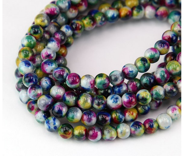 Teal and Blue Multicolor Jade Beads, 6mm Round