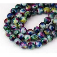 Teal and Blue Multicolor Jade Beads, 10mm Round