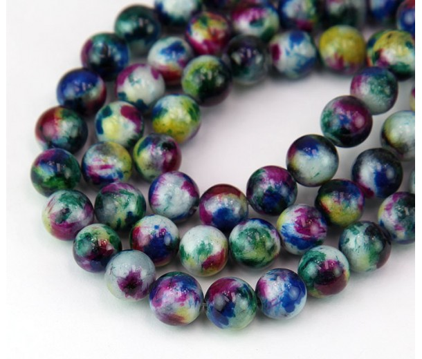 Teal and Blue Multicolor Jade Beads, 8mm Round