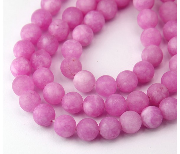 Orchid Pink Matte Jade Beads, 8mm Round