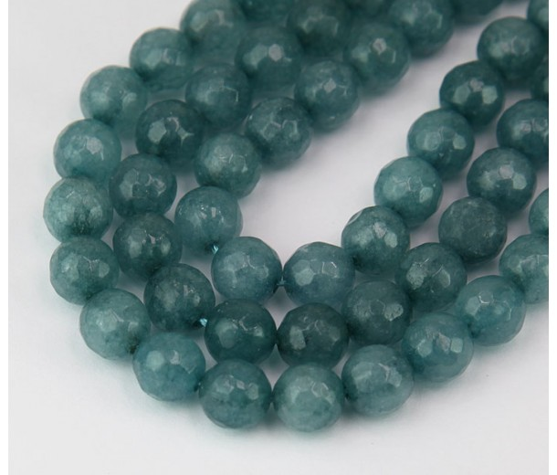 Blue Grey Candy Jade Beads, 8mm Faceted Round