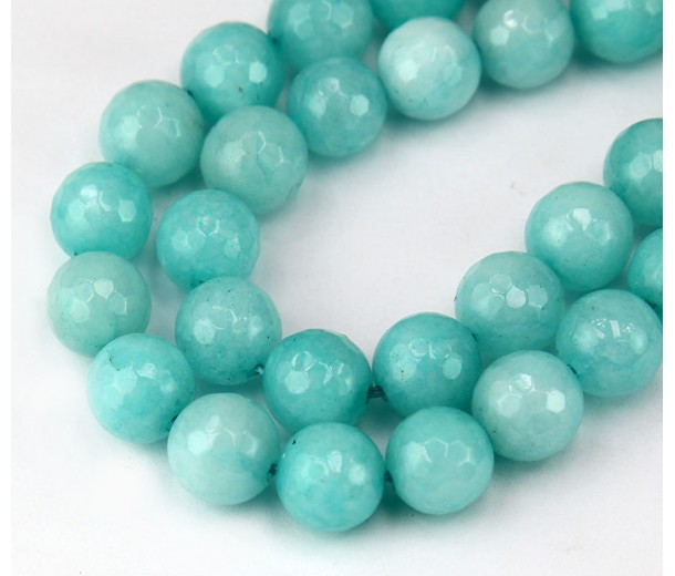 Light Blue Teal Candy Jade Beads, 10mm Faceted Round