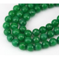 Grass Green Candy Jade Beads, 8mm Faceted Round