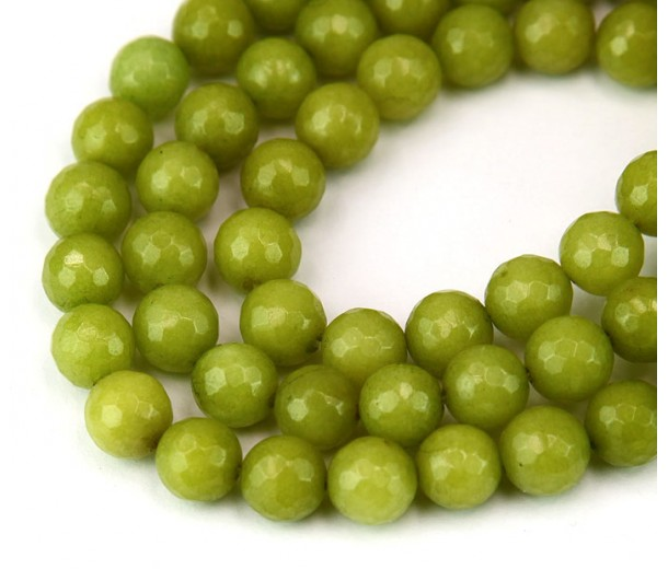 Yellow Green Candy Jade Beads, 8mm Faceted Round