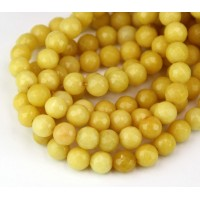Light Mustard Candy Jade Beads, 8mm Faceted Round