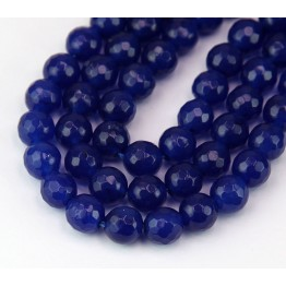 Lapis Blue Candy Jade Beads, 8mm Faceted Round