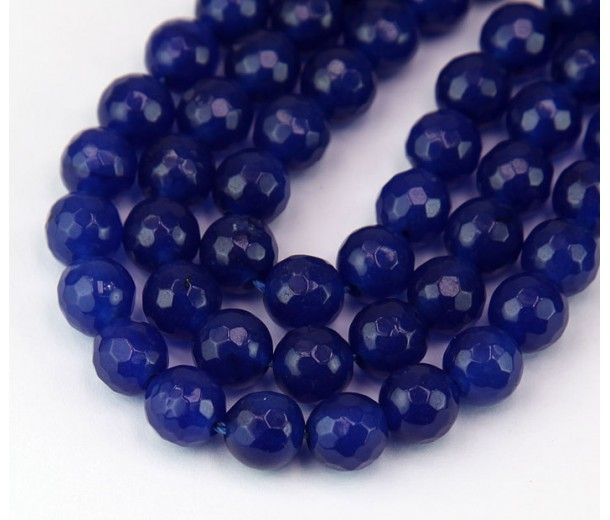 Lapis Blue Candy Jade Beads, 6mm Faceted Round