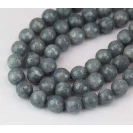 Medium Grey Candy Jade Beads, 8mm Faceted Round