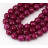 Dark Fuchsia Candy Jade Beads, 8mm Faceted Round